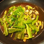 migas pimientos ajos tiernos panceta
