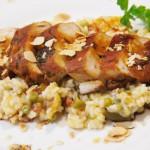 Pollo teriyaki con arroz milanesa