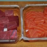Brochetas de salmón y atún