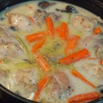 Blanqueta de pollo con setas y verduras