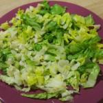 Lechuga para Ensalada de palmitos y aliño de olivas negras y tomates secos
