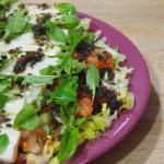 Ensalada de palmitos y aliño de olivas negras y tomates secos