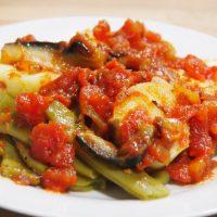 Judías verdes con salsa de tomate y berenjena6