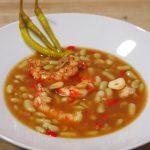 plato de verdinas con langostinos